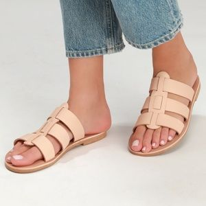 LuLus Thassos Natural Leather Slide Sandals